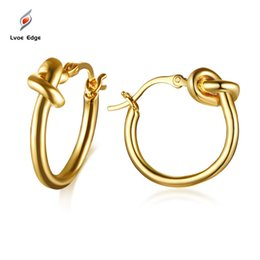 Orecchini a cerchio d'oro piccolo nodo d'amore per orecchini da donna in acciaio inossidabile giocoso con nodo a spirale pendientes brincos gioielli da donna supplier golden small earrings da orecchini dorati fornitori