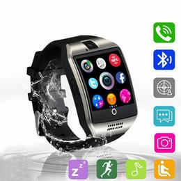 2019 sms sync bluetooth Bluetooth Smart Watch Männer Q18 mit Kamera Facebook WhatsApp Twitter Sync SMS Smartwatch Unterstützung SIM TF-Karte für iOS Android günstig sms sync bluetooth