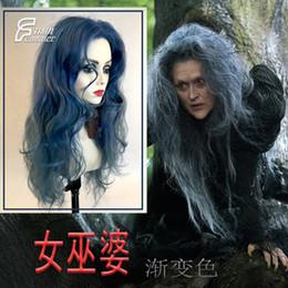 Cabelo azul longo anime on-line-fogos de artifício pretos Blue Magic gradiente mistos florestais cabelos longos encaracolados bruxa COS anime peruca
