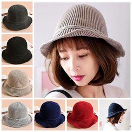 Пик колпачка онлайн-Сплошной цвет шляпа женская вязаная шапка мода девушки типа зима теплая женская берета фуражка леди осень случайные шапочки 6 цветов ZZA897