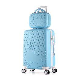 Девушки чемодан багажа онлайн-Дети Hello Kitty Чемодан симпатичный Багажный набор 20 24 дюймов студентов Тележка Чемодан дорожная сумка girlboy Багажная сумка Rolling