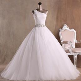 um vestido de cristal da fita do ombro Desconto Moda Um ombro Vestidos de Casamento Com Brilhos de Cristal Fita Organza Ruched Frisado Lantejoulas Barato Vestido de Noiva Vestidos de Noiva Novo