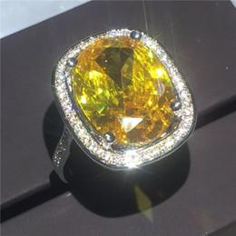 Bagues pour anniversaire de mariage en Ligne-Magnifique Lady 925 Argent Grand Diamant Jaune CZ Pierre De Naissance Anneau Anniversaire Cadeau Cadeau De Mariage Bague Taille 5-12