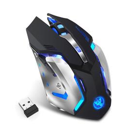 Ratón de respiración online-Ratón inalámbrico para juegos M10 2400 ppp Recargable 7 colores Retroiluminación Respiración Comfort Gamer Ratones para computadora Computadora portátil de escritorio Ratón para juegos