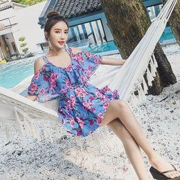 Populares trajes de baño de una pieza online-Popular linda fuente termal de una pieza cubre el vientre para mostrar el traje de baño de tres piezas de abrigo de gasa delgada