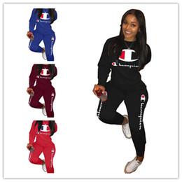 longues jambières Promotion Marque de mode Champions Lettre Impression Survêtement Femmes Printemps Tenues À Manches Longues T-shirt Tops + Pantalons Leggings 2 Pièce Set Sport Suit A3207