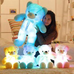 4 Цвет 30 см 50 см 80 см LED Красочные Светящиеся Мишка Гигантская раковина гигантская игрушка Тедди День святого Валентина подарок к празднику медведь Рождество Плюшевые Игрушки supplier valentine s day giant teddy bear от Поставщики valentine s day giant teddy bear