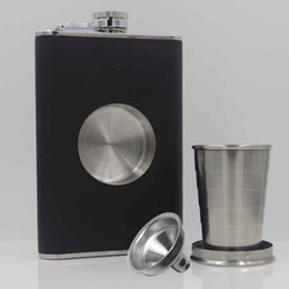 2019 coffret cadeau en acier inoxydable Tasse de vin flexible cachée de flacon de hanche d'acier inoxydable de 8 onces avec l'entonnoir pour l'emballage de boîte-cadeau de bouteille d'alcool pour le flacon de boisson coffret cadeau en acier inoxydable pas cher