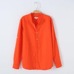 Color naranja único online-Lino único y camisa de manga larga de algodón de los hombres de la marca de moda de color naranja para hombre del collar del soporte camisas respirables chemise masculino