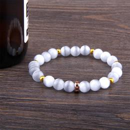Pave cz imperial beads charme pulseira branco olho de gato pedra pulseira para mulheres homens casal amizade em massa atacado de