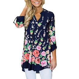 Ropa de estilo bohemio online-Moda para mujer Casual con cuello en V Split Estampado floral camisa con mangas abullonadas Blusas Tops estilo bohemio para mujer blusas ropa de mujer