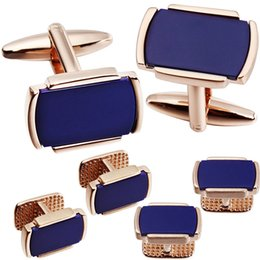 2019 gemas de punho 6 PCS Conjunto Cufflinks Studs Colar Com Pedra Azul Natural para Homens Tuxedo HAWSON desconto gemas de punho