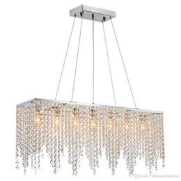 lustre retangular sala de jantar luzes Desconto Modern Linear Lustre Crysal Iluminação Lustre Ilha Luminária Luminária para Sala de Jantar Sala de estar L32