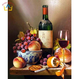 2019 wein gemälde leinwand Fruchtwein nach Zahlen Stillleben Bild auf Kunstgemälde Leinwand Wand Decoation Wohnzimmer diy Farben Poster und Drucke RA3038 günstig wein gemälde leinwand