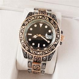 Мужские золотые кварцевые часы черный циферблат онлайн-43 мм моды резные из нержавеющей стали с золотыми часами черный циферблат кварцевые мужские часы дешевые мастер-мужчина с часами Montre homme военные