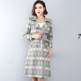 xs mujer abrigo largo coreano Rebajas Primavera Otoño Nuevas mujeres Cazadora larga Suede Casual Plaid Trench Coat Mujer Abrigo cruzado Plus size Abrigo de moda coreana