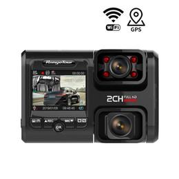 Full hd gps camera онлайн-4K WiFi GPS Автомобильный видеорегистратор D30H тире Cam Full HD 2160P с двумя объективами G-Sensor Night версия Uber Такси Автобус камеры
