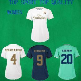 Camicie da donna online-19 20 maglia da calcio femminile Real Madrid femminile ZIDANE RONALDO HAZARD ASENSIO Maglie di calcio 2019/20 Ladys RMD Home Away Uniformi di calcio