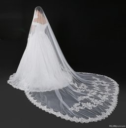 tail veil Coupons - 5 Metres One Layer Ivory New Bridal Veil Wedding lace Long Tail Bride Wedding Veil Dress Accessories With lace Applique