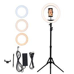 14in 3200 ~ 5500K Infinite selfie LED Anello con treppiedi porta cellulare per diretta / trucco lampo di luce ad anello da