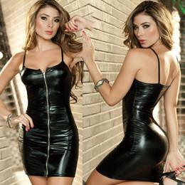 Lingerie sexy Taglie forti Donne Vestito erotico Faux Leather Zip Clubwear Abbigliamento esotico Bondage sessuale Biancheria intima M-XXL C19010801 da