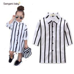 abbigliamento per bambini autunno nuovi modelli esplosione ins bei bambine in bianco e nero camicia per bambini vestiti top camicie ragazza da