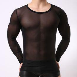 2019 maillots de corps hommes T-shirts à manches longues en maille transparente pour hommes sexy, gays, night-clubs, collants, gaze, t-shirts maillots de corps hommes pas cher
