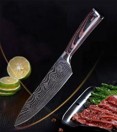 2019 cuchillos de cocina al por mayor Venta al por mayor Herramientas de cocina Cuchillo de Damasco de acero inoxidable Color delicado Mango de madera Rebanar Frutas Verduras Carne Cuchillo afilado DH0587 T03