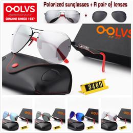 Замена линз очков онлайн-Стиль (4) OOLVS RAYSF высокого качества пилот поляризованные очки F34-60M металлический каркас очки объектива Двухсторонний LOGO С Замена объектива