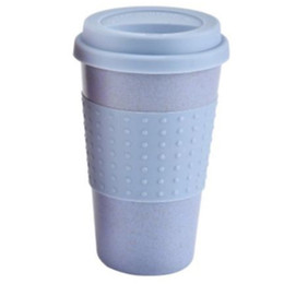 Coperchi in silicone per tazze online-Coperchio in silicone Portatile Tazza Creativa Paglia di Grano Acqua da viaggio Bere Caffè da asporto riutilizzabile Pratico
