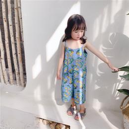 diseños de moda mono Rebajas NNew ropa de verano niñas bebés algodón mono niños moda Fruta diseño suspender siameses cortos chica dulce 2colour