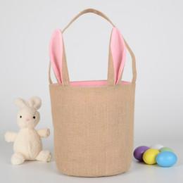 Totes all'ingrosso di iuta online-Commercio all'ingrosso Easter Rabbit Ear Bag Cartoon Canvas Bambini Tote Sacchetti regalo Borse a tracolla Outdoor Viaggi Totes rivestiti di iuta