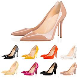 Laranja alta saltos bombas on-line-Hot designer de moda sapatos femininos vermelho fundo de salto alto 8 cm 10 cm 12 cm nu preto vermelho rosa orange couro apontou toes bombas vestido sapato