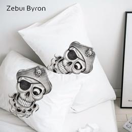 Taie d'oreiller en Ligne-Taie d'oreiller 3D personnalisée taie d'oreiller / 50x70 / 50x75 / 50x80 / 70x70 couverture décorative, dessin au crayon pirate literie crâne, bateau de baisse