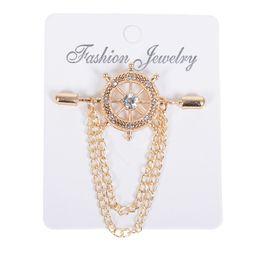 Broches de corea online-Corea traje broches de perlas de cristal del timón de la cadena hombres broches camisa cuello broches Vintage solapa Pin broches regalo de la joyería