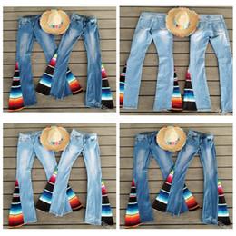 8148170c27f wholesale bell bottom pants 2019 - Serape bell bottom jeans women long  loose stripe serape jeans