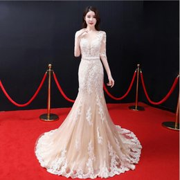 white cotton prom dresses Coupons - Custom made plus size illusion Jewel 1 2 sleeve Mermaid sweep train flower cotton lace prom evening homecoming red carpet runway party dress