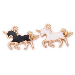 Encantos de unicornio online-Unicorn Charms, 200PCS, 15 * 21MM, Esmalte Unicorn Charm, Animal Charm, Suministros de joyería, Resultados de bricolaje Negro Colores blancos