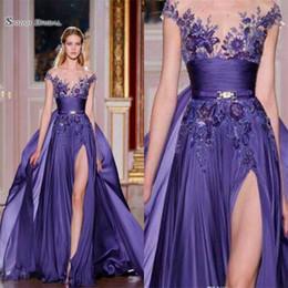 Zuhair murad split side dress on-line-Zuhair Murad 2019 A Linha Chiffon Side Dividir Overskirts Maxi Prom Vestidos de Noite Applique Longo Formal Vestido de Festa Vestido