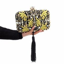 Perle di design Perle Diamanti Pochette in oro ricamo Pochette nera Borsa da sera in cristallo Borsa da sposa nuziale con catena da