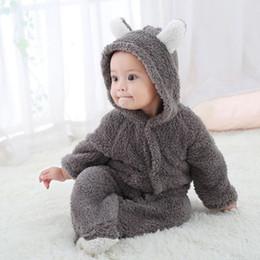 2019 macacão de urso bebê 2019 Urso 3D animal inverno nova roupa do bebê flanela Roupa do bebé dos desenhos animados Ear Romper Jumpsuit Aqueça infantil recém-nascido Romper macacão de urso bebê barato