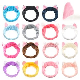 scarf hoops Promo Codes - Haimeikang Women Cat Ear Velvet Headband 2018 New Cat Ears Hair Band Lovely Face Wash Hoop Makeup Sport Bands Head Scarf