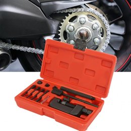 Enlaces de cadena de bicicleta online-Juego de herramientas de reparación de remachado de remachadoras Splitter Link Splitter Link de cadena de motos para motocicleta Bicicleta Juego de herramientas de mano