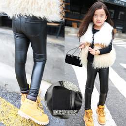 2019 24 monate mädchen jeans Kinder PU-Leder Hose Leggings verdickte und Plüsch warme Winterhosen für Babys Kinder Modeboutiquen Hosen