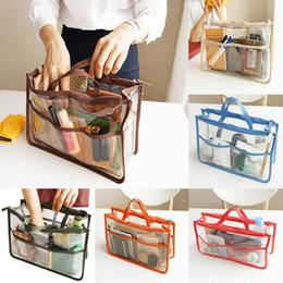 Большая прозрачная косметичка онлайн-ПВХ Clear женщин сумка способа прозрачно сумки Женщины Travel Beach Большие сумки на ремне, макияж Косметические мешок MMA2487-1