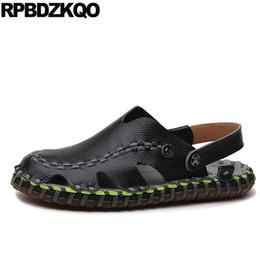 5ff144c31781 High Quality Designer Men Sandals Leather Summer Black Breathable Slippers  Slides Mules Slip On Genuine Native Shoes Closed Toe