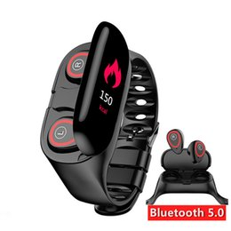 wireless heart rate monitors Promo Codes - M1 TWS Dual Bluetooth Earphone AI Smart Bracelet Watch Men Heart Rate Monitor Smart Wristband Long Time Standby Sport Watch