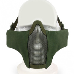 half face mesh airsoft mask Promo Codes - New Tactical Airsoft Tactical PDW Half Face Mask Metal Mesh Skull Protective Army Wargame Hunting Accessories Paintball Masks