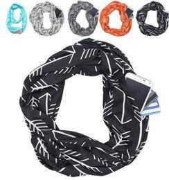 Sciarpe di natale online-27 design Infinity Sciarpa con Pocket Zipper Loop Sciarpa Xmas Gift e Infinity Sciarpa con pocket prrow Star Elk Print Ring Sciarpe KKA6341