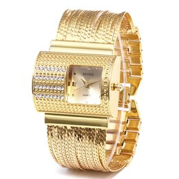 relógios de senhora Desconto Mulheres Rodada Cheia de Diamantes Pulseira Relógio Analógico Movimento de Quartzo Relógio de Pulso Moda Cristal Aço Inoxidável
